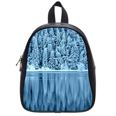 Snowy Forest Reflection Lake School Bag (small)
