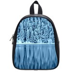 Snowy Forest Reflection Lake School Bag (Small) Front