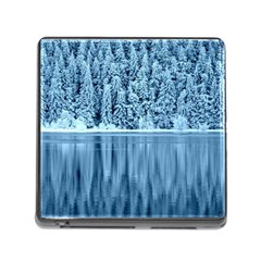 Snowy Forest Reflection Lake Memory Card Reader (square 5 Slot) by Alisyart