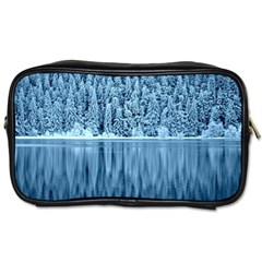 Snowy Forest Reflection Lake Toiletries Bag (one Side) by Alisyart