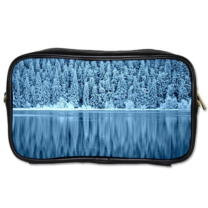 Snowy Forest Reflection Lake Toiletries Bag (One Side)