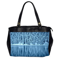 Snowy Forest Reflection Lake Oversize Office Handbag (2 Sides) by Alisyart
