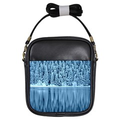 Snowy Forest Reflection Lake Girls Sling Bag by Alisyart