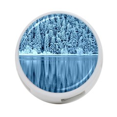 Snowy Forest Reflection Lake 4 Port Usb Hub (one Side) by Alisyart