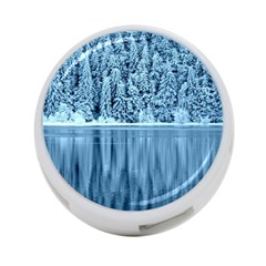 Snowy Forest Reflection Lake 4 Port Usb Hub (two Sides) by Alisyart