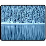 Snowy Forest Reflection Lake Fleece Blanket (Medium)  60 x50 Blanket Front