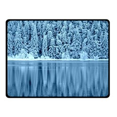 Snowy Forest Reflection Lake Fleece Blanket (small) by Alisyart