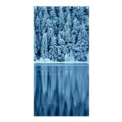 Snowy Forest Reflection Lake Shower Curtain 36  X 72  (stall)  by Alisyart