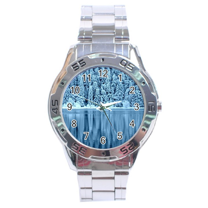 Snowy Forest Reflection Lake Stainless Steel Analogue Watch