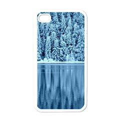 Snowy Forest Reflection Lake Apple Iphone 4 Case (white) by Alisyart