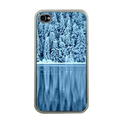 Snowy Forest Reflection Lake Apple Iphone 4 Case (clear)