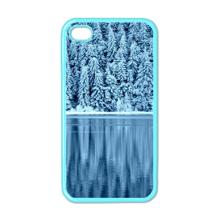 Snowy Forest Reflection Lake Apple iPhone 4 Case (Color)