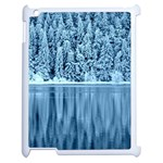 Snowy Forest Reflection Lake Apple iPad 2 Case (White) Front