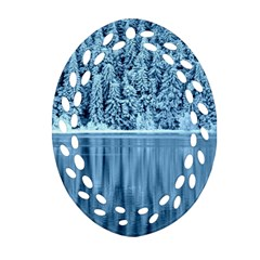 Snowy Forest Reflection Lake Oval Filigree Ornament (two Sides) by Alisyart