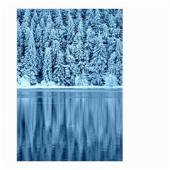 Snowy Forest Reflection Lake Small Garden Flag (two Sides)