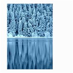 Snowy Forest Reflection Lake Small Garden Flag (Two Sides) Back