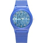 Snowy Forest Reflection Lake Round Plastic Sport Watch (S) Front