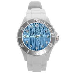 Snowy Forest Reflection Lake Round Plastic Sport Watch (l)