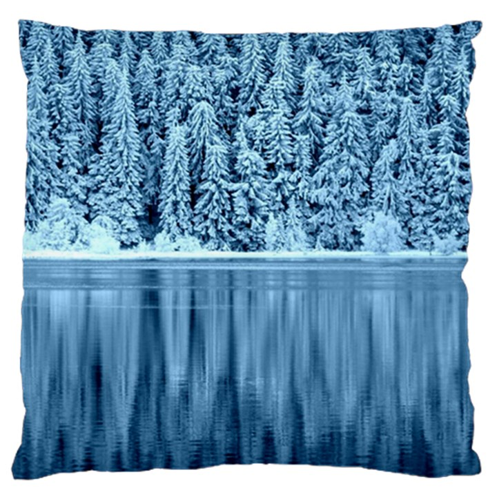 Snowy Forest Reflection Lake Large Cushion Case (One Side)
