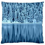 Snowy Forest Reflection Lake Large Cushion Case (Two Sides) Back