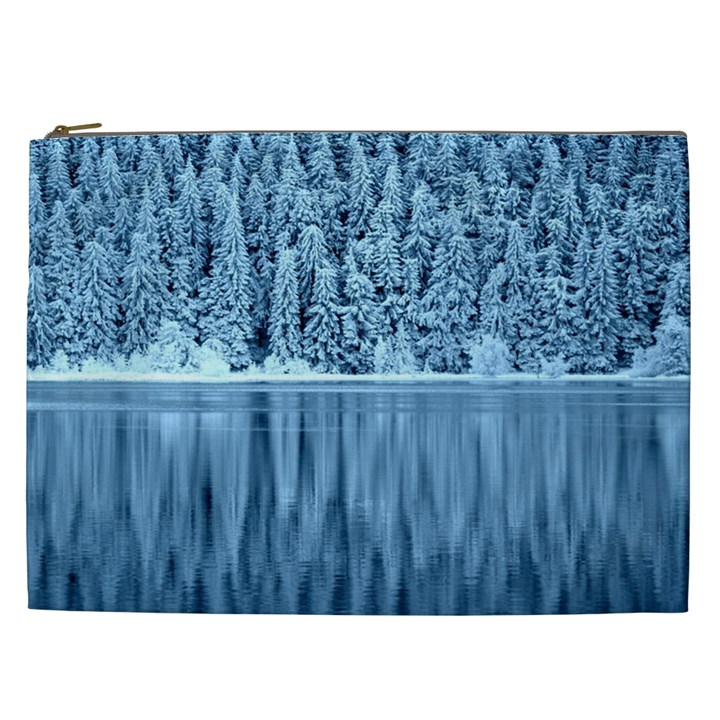 Snowy Forest Reflection Lake Cosmetic Bag (XXL)