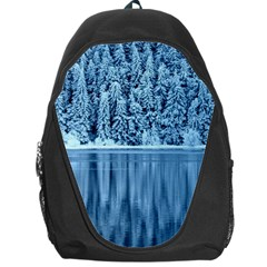 Snowy Forest Reflection Lake Backpack Bag