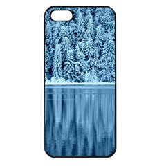 Snowy Forest Reflection Lake Apple Iphone 5 Seamless Case (black)