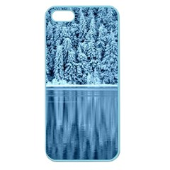 Snowy Forest Reflection Lake Apple Seamless Iphone 5 Case (color) by Alisyart