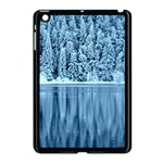 Snowy Forest Reflection Lake Apple iPad Mini Case (Black) Front
