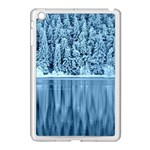 Snowy Forest Reflection Lake Apple iPad Mini Case (White) Front