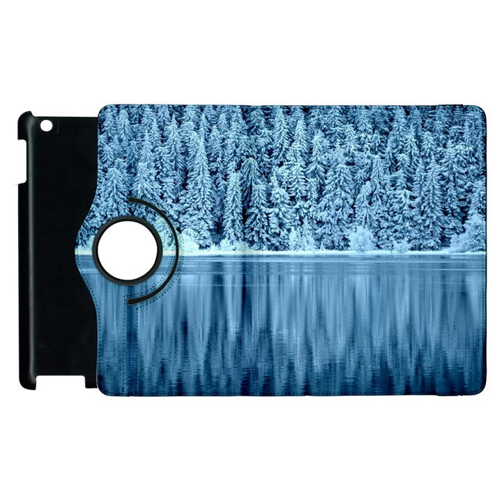 Snowy Forest Reflection Lake Apple iPad 2 Flip 360 Case