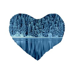 Snowy Forest Reflection Lake Standard 16  Premium Heart Shape Cushions by Alisyart