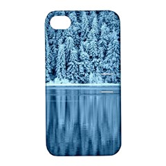 Snowy Forest Reflection Lake Apple Iphone 4/4s Hardshell Case With Stand by Alisyart