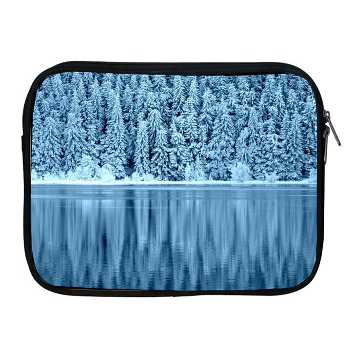 Snowy Forest Reflection Lake Apple iPad 2/3/4 Zipper Cases