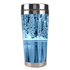 Snowy Forest Reflection Lake Stainless Steel Travel Tumblers