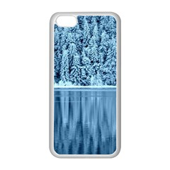 Snowy Forest Reflection Lake Apple Iphone 5c Seamless Case (white) by Alisyart