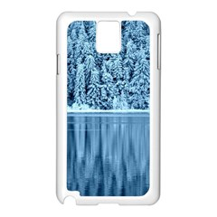 Snowy Forest Reflection Lake Samsung Galaxy Note 3 N9005 Case (white) by Alisyart