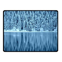 Snowy Forest Reflection Lake Double Sided Fleece Blanket (small)  by Alisyart