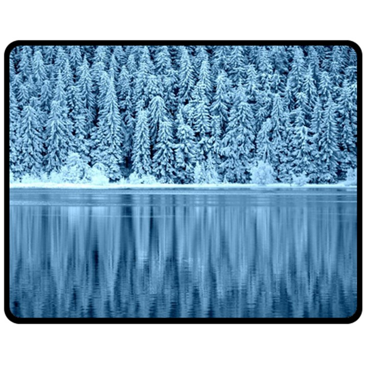 Snowy Forest Reflection Lake Double Sided Fleece Blanket (Medium)