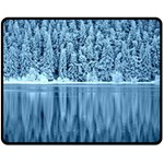 Snowy Forest Reflection Lake Double Sided Fleece Blanket (Medium)  58.8 x47.4 Blanket Back