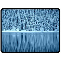 Snowy Forest Reflection Lake Double Sided Fleece Blanket (large)