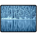 Snowy Forest Reflection Lake Double Sided Fleece Blanket (Large)  80 x60 Blanket Front