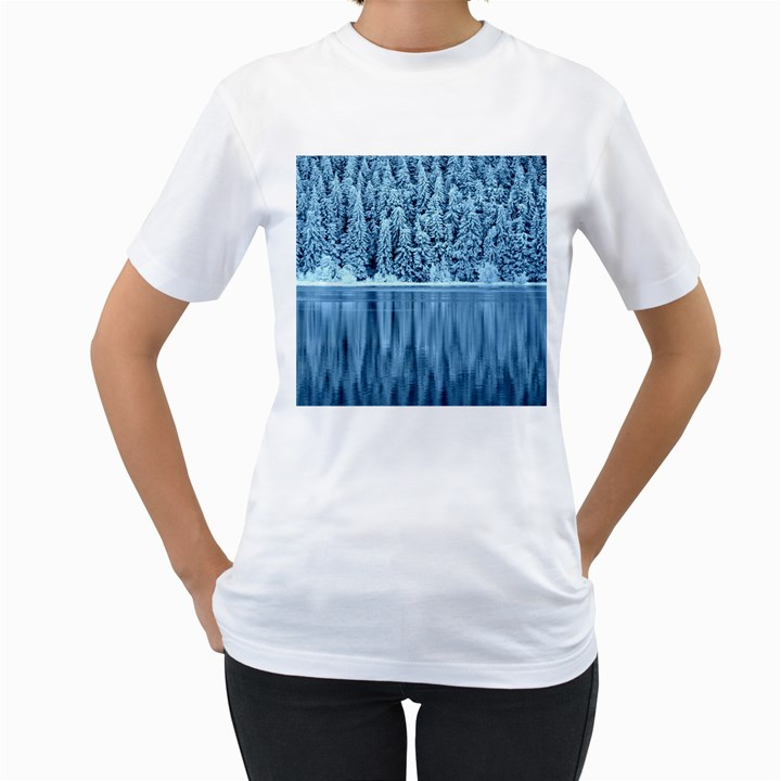 Snowy Forest Reflection Lake Women s T-Shirt (White)