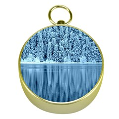 Snowy Forest Reflection Lake Gold Compasses