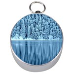 Snowy Forest Reflection Lake Silver Compasses Front