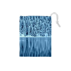 Snowy Forest Reflection Lake Drawstring Pouch (small)