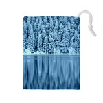 Snowy Forest Reflection Lake Drawstring Pouch (Large) Front