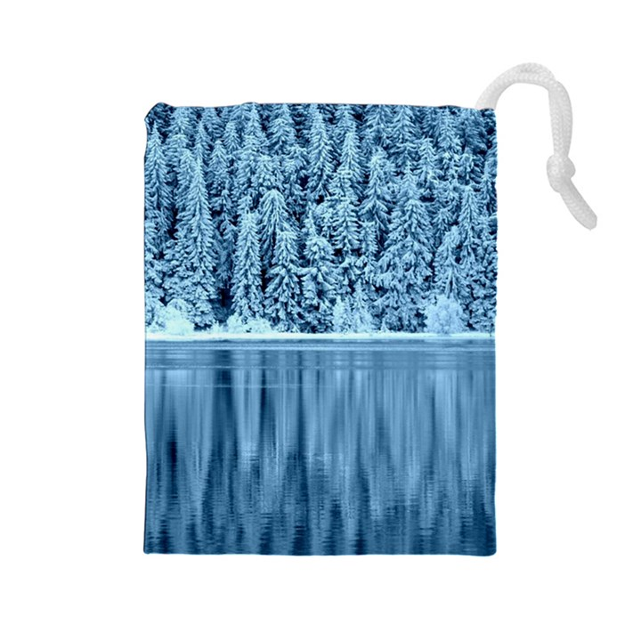 Snowy Forest Reflection Lake Drawstring Pouch (Large)