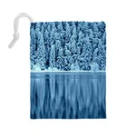 Snowy Forest Reflection Lake Drawstring Pouch (Large) Back