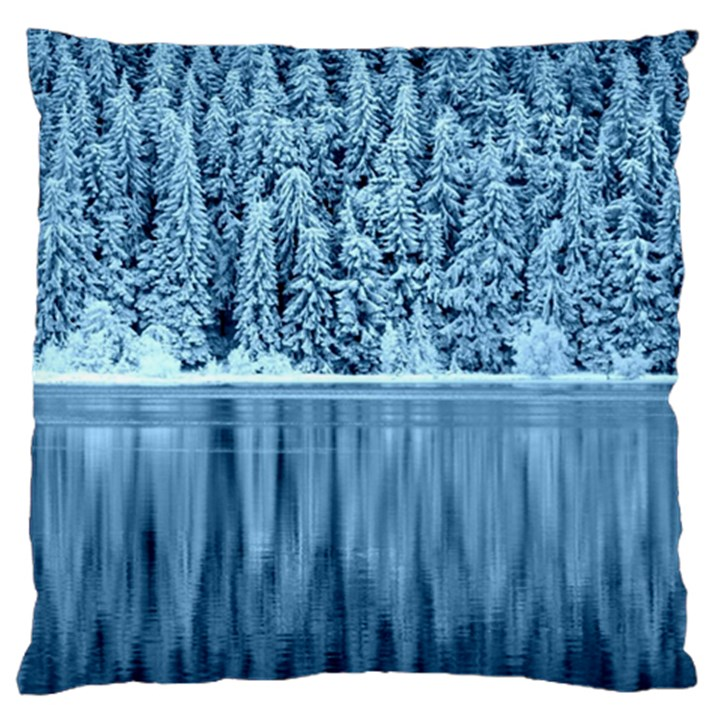 Snowy Forest Reflection Lake Large Flano Cushion Case (Two Sides)